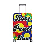 My Daily Love Peace Joy Colorful Flower Luggage Cover Fits 24-26 Inch Suitcase Spandex Travel Protector M