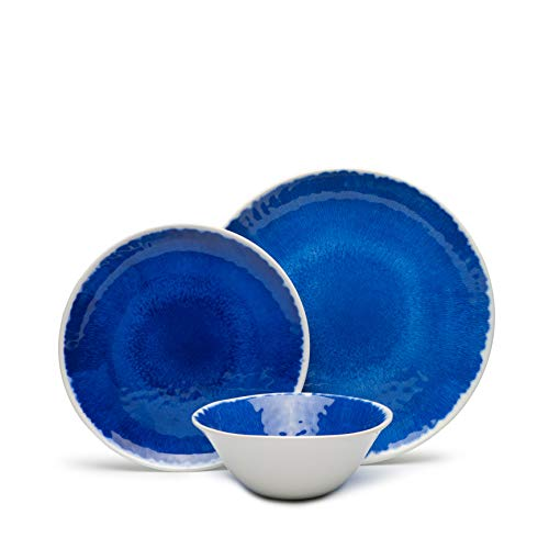 12-Piece Melamine Dinnerware Set, Dinnerware Set for 4, Dishwasher Safe, BPA free,Unbreakable,Blue by Hware
