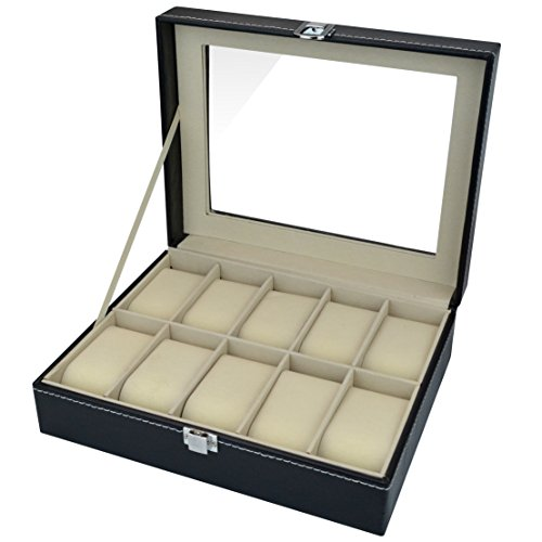 Aketek Watch Box 10 Mens Black Leather Display Glass Top Jewelry Case Organizer by Aketek