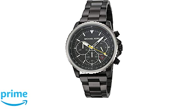 Amazon.com: Michael Kors Mens Theroux Analog-Quartz Watch with Stainless-Steel-Plated Strap, Black, 18 (Model: MK8643: Watches