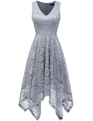 - MEETJEN Women's Vintage Floral Lace Dress Handkerchief Hem Asymmetrical Cocktail Formal Swing Dress Grey S