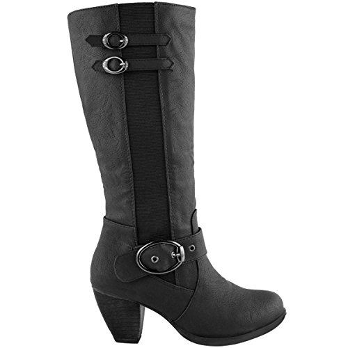 MID BLOCK WOMENS LADIES Faux Black RIDING SHOES LOW Leather BOOTS CALF WINTER KNEE HIGH HEEL WARM tHtq5r4ndx