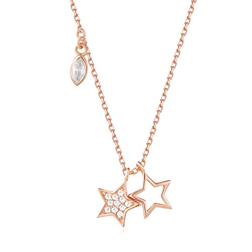 Carleen 18K Rose Gold Plated 925 Sterling Silver Round and Marquise Cut CZ Cubic Zirconia Duo Star Petite Dainty Pendant Necklace for Women Girls with 15.75