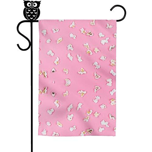 Quinnteens Pink min gem Popcorn Home Garden Flag Yard Flag Summer Yard Outdoor Decorative 12x18 inch
