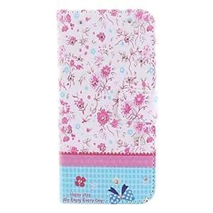 YULIN flores de colores Escenografía barrena estuche de cuero pu con ranura para tarjeta y soporte para el iPhone 6