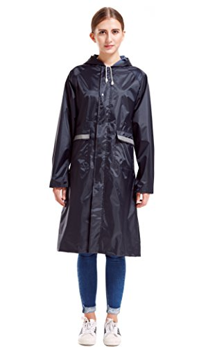 Vcansion Women's Long Light Weight Packable Travling Hiking Outdoor Trench Jacket Raincoat Navy