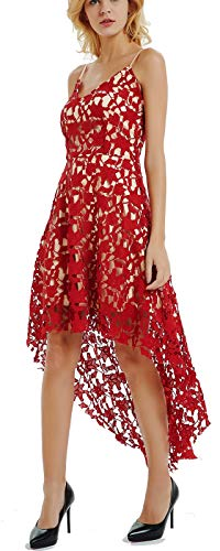 Ashir Aley V Neck Red Lace Dresses for Women Bridal Shower Dresses Cocktail Dresses for Women Plus Size(M,Maroon)