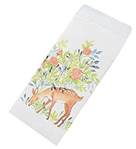 30pcs Deer and Flower Invitation Envelopes Stationery Artistic Greetings Cards for Wedding, Birthday, Baby Shower