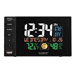 La Crosse Technology C87207 C87061 Color Dual Alarm Clock with USB Charging Port