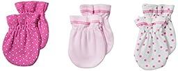 Spasilk Unisex-Baby Newborn 3 Pack 100% Cotton Scratch Mittens, Pink Dots, 0-3 Months