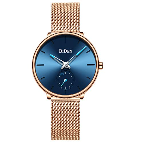 Womens Watch Fashion Luxury Dress Simple Designer Analog Watches Stainless Steel Mesh Minimalist Quartz Ultra Thin Watch - Blue