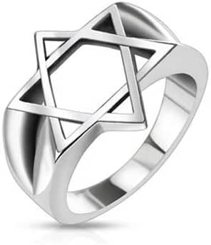 Stainless Steel Hollow Star of David Wide Cast Ring, Width 17MM - Crazy2Shop