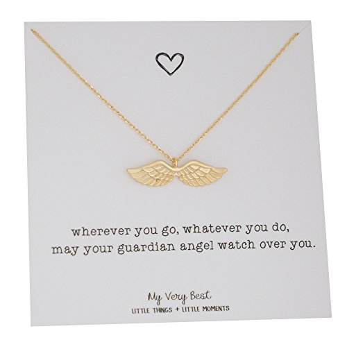 (My Very Best Dainty Angel Wing Necklace (gold plated brass) )