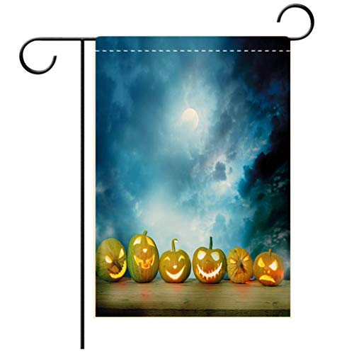 Polyester and linen Garden Flag Outdoor Flag House Flag BannerHalloween Spooky Halloween Pumpkins on Wood Table Dramatic Night Sky Print Decorative Dark Bluedecorated for outdoor holiday gardens