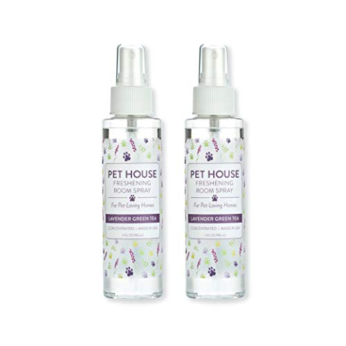 Pet House Pet Friendly Freshening Room Spray in 6 Fragrances - Non Toxic - Concentrated Air Freshening Spray Neutralizes Pet Odor - Effective, Fast-Acting - 4 oz - Pack of 2 (Lavender Green Tea)