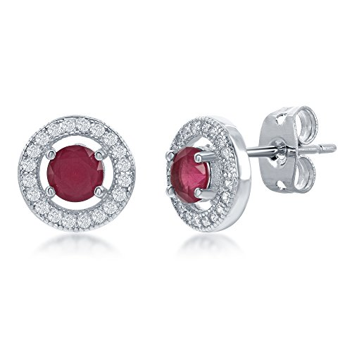 Silvertone Cubic Zirconia Micro pave Setting Round Created Ruby CZ 10mm Halo Stud Earrings -