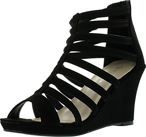 Top Moda Womens Gladiator Inspired Bird Cage Strappy Wedge Sandals Black 8.5 Leather Strappy Heel Wedge Sandal