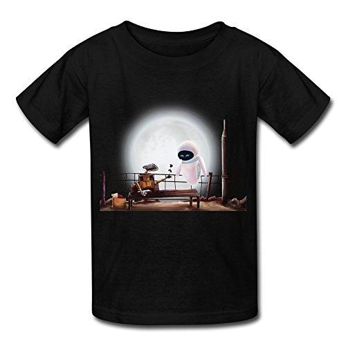 Kids Boys Girls T Shirt Wall E Eve Robot Moon Love Black Size -
