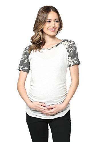 Hello MIZ Women's Maternity T-Shirt Top with Raglan Sleeve (L Grey/Black Short, XL) (Miz The Tshirt)