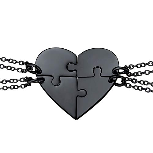 U7 BFF Necklace for 2/3/4 Stainless Steel Chain Personalized Family Love/Friendship Jewelry Set Free Engraving Heart Pendants (Set of 4 Black (Blank))