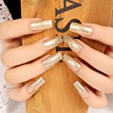 24PCS/Pack Fake Nail-The Shining And Fashionable Light-Gold Long Size Fake Nail For Ladies
