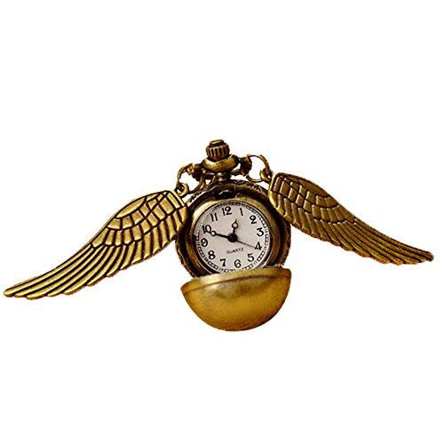 Snitch Necklace Flying ball Vintage Retro Angel Wing Steampunk Pocket Watch Harry Potter