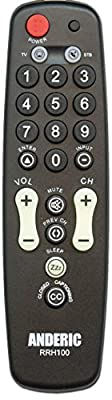 Anderic Universal TV Remote Control - BULK Pricing Available - 1-Device - TV Only - Great for Seniors / Hospitality / Hotels / Motels - Senior Remote - Jumbo Remote - RRH100