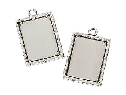 Amazon.com: Darice Rectangle Frame Charms, Antique Silver