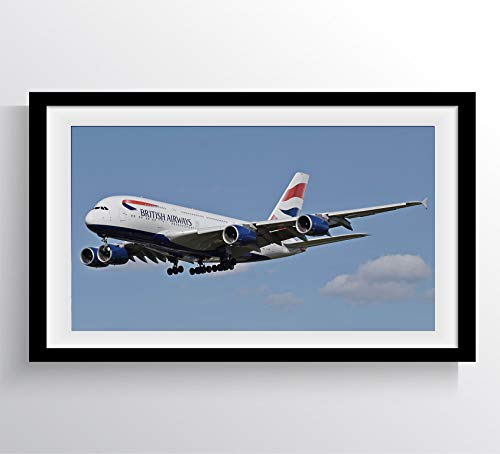 AIRBUS 380 BRITISH AIRWAYS COMMERCIAL TRAVEL AIRPLANE LUXURY PLANE Poster Mural - Photography Art 17