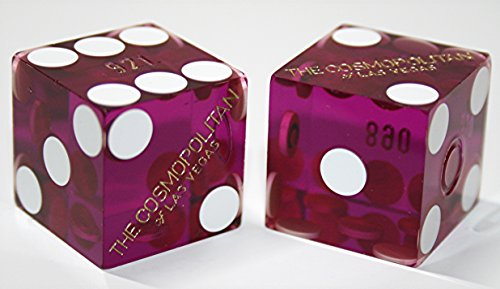 Cyber-Deals Pair (2) Cosmopolitan Casino Las Vegas 19mm Authentic Table-Played Dice (Purple)