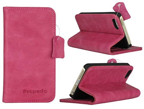 iPhone SE, iPhone 5s & iPhone 5 Case, Propado Women's Genuine Leather Wallet Case with Stand Function,Credit Card Slots, ID Card Holder & Magnetic Closure (Rose)