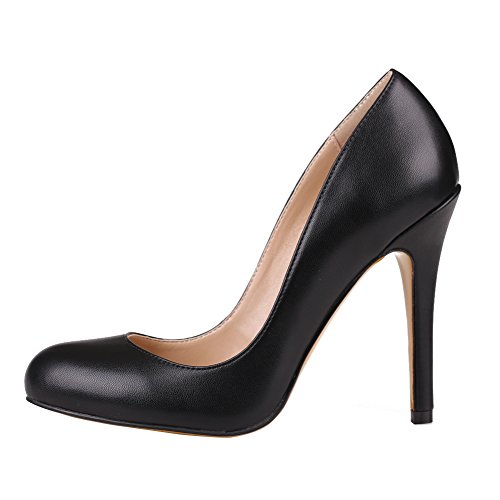 Stiletto On Black Classic Solid Court Women's Round Slip Shoes 100mm Kolnoo Pumps Toe SqwE7g1x
