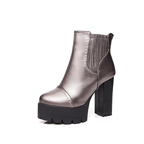 Comfort Metallic Slip Boots Resistant Casual SXC01837 Platform AdeeSu Womens Urethane qXxwFARzZ