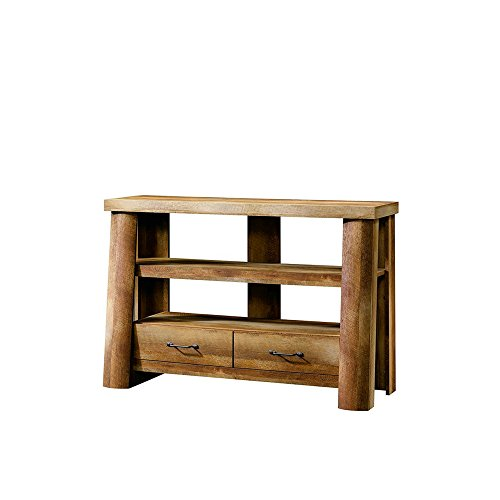 Rustic Entryway Wood Stand with 2 Drawers TV Stand Oak Finish Entry Table Sofa Table Living Room Βedroom House Amazing Style Color Brown & eBook by BADA Shop (Oak Stand Plant Finish)