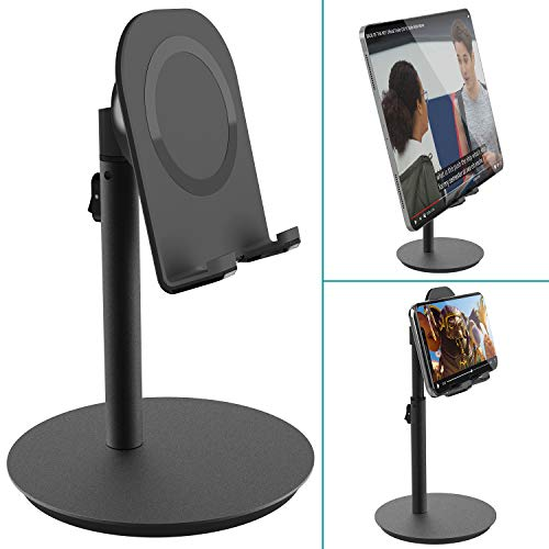 Cell Phone Stand Tablet Holder,Klearlook Adjustable Height and Angle Desk Smartphone Stand Holder (Upgrade Version Phone Stand) Compatible with Phone, Tablet Up to 10.5 Inch [Carbon Black]