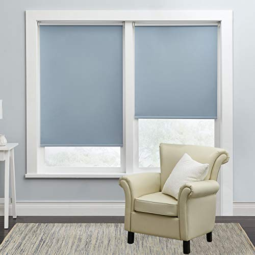 BrylaneHome Cordless Push-Up Roller Blackout Shade – Light Blue, 39I W 64I L