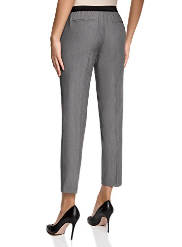 oodji Ultra Mujer Pantalones Clásicos con Pinzas Gris (2500M)