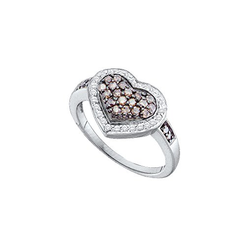 14kt White Gold Womens Round Cognac-brown Colored Diamond Framed Heart Cluster Ring 1/2 Cttw by JawaFashion