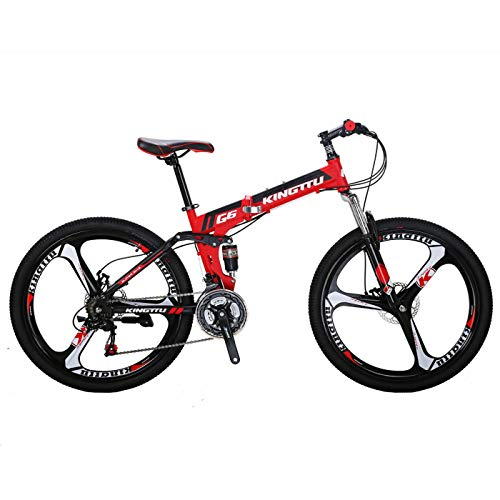 Kingttu KTG6 Mountain Bike 26 Inches 3 Spoke Wheels Dual Suspension Folding Bike 21 Speed MTB Red