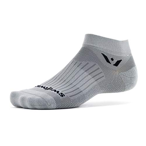 Swiftwick- Aspire ONE Running & Cycling Socks for Men & Women| Firm Compression Fit Ankle Socks | Pewter, Large