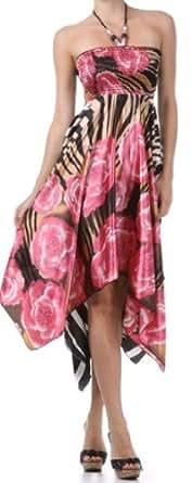 FOSatin001A-5331 Zebra Inspired Floral Design Satin Feel Beaded Halter Smocked Bodice Handkerchief Hem Dress - Pink / Small