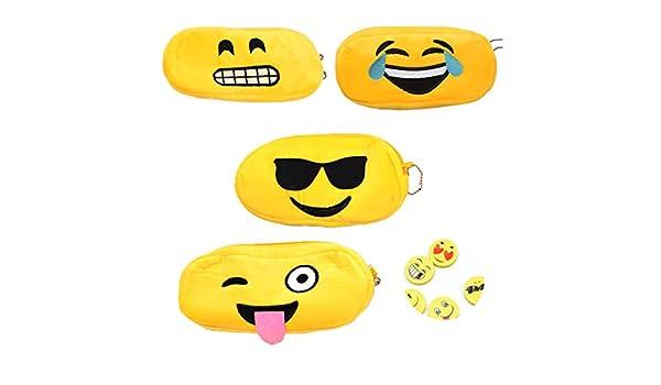 Osuter 4PCS Estuche Escolar Suave Bolsa de Lapices con 4PCS Gomas de Borrar Emoji Estuche Portalápices para Escuela Útiles Escolares Regalo: Amazon.es: Oficina y papelería