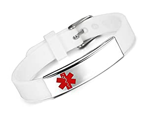 JF.JEWELRY Medical ID Alert Bracelet for Women Silicone Band & Stainless Steel Tag Custom Engraved