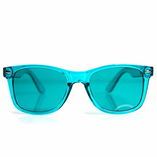 GloFX Aqua Color Infused Diffraction Glasses – (Turquoise) Color Therapy Rave Glasses Chakra - Chakra Sunglasses