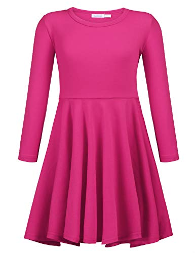 Arshiner Girls' Cotton Long Sleeve Twirly Skater Party Dress, Rose Red, 8 Years