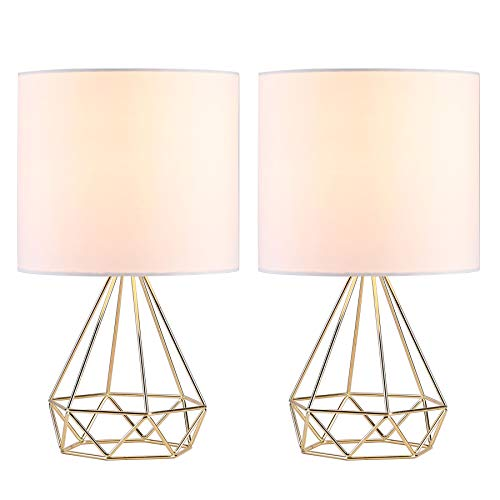 (CO-Z Modern Table Lamps for Living Room Bedroom Set of 2, Gold Desk Lamp with Hollowed Out Base and White Fabric Shade, 16 Inches Bedside Lamps for Nightstand Accent. (Gold))