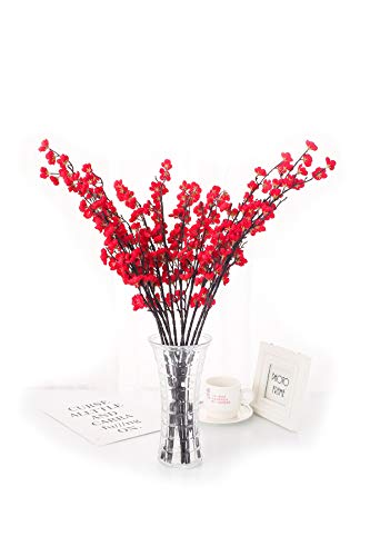 Charmly 5 Pcs Artificial Plum Blossom Fake Wintersweet Long Stem Plastic Flowers Home Hotel Office Wedding Party Garden Decor 27.5'' High Red -