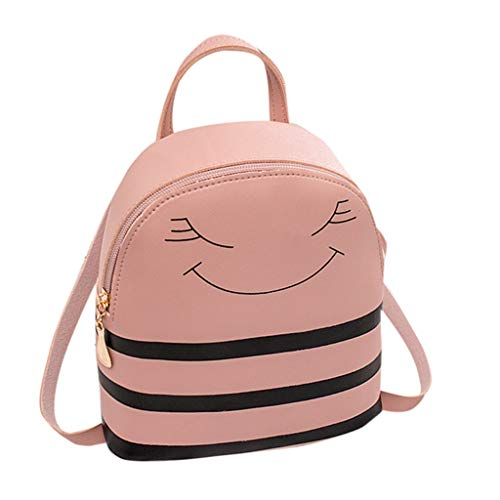 diario Mini Pack Ragazza scuola Zipper pelle per Stripes Zaino Viaggio donna in Borsa Rosa Zaini Wild Stripe all'aperto Ragazza Zaino Mitlfuny Leisure regolabile Fashion Uqxwadd