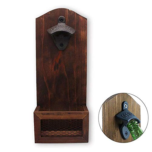 AUOKER Wall Mounted Bottle Opener Strong Magnetic Vintage Bottle Opener with Magnetic Cap Catcher, Adsorbed On Refrigerators Or Mounted On Walls, Very Stable One Handed Operation (Uk Ideas Surface Patio)