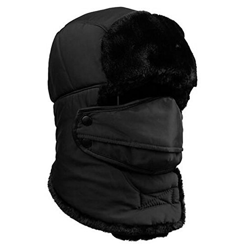 (Baiyu Unisex Winter Trooper Hat Ear Flap Warm Bomber Hat Trapper Pilot Cap Ushanka Russian Style with Windproof Mask for Cycling Skiing Hiking Hunting Camping -)